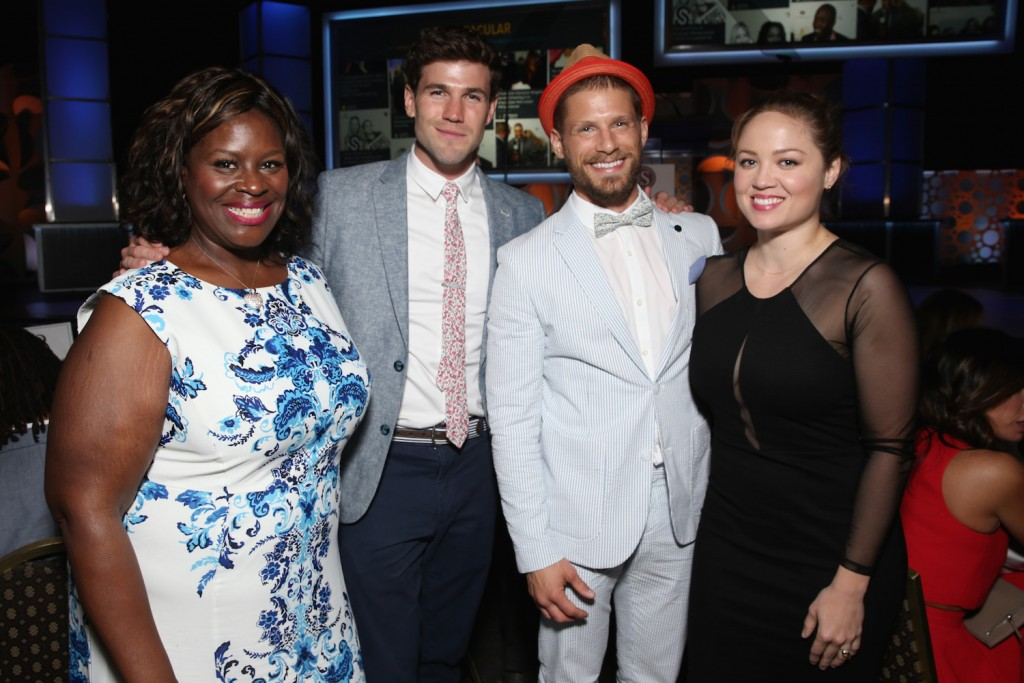 (L-R) Retta, Austin Stowell, Matt Lauria and Erika Christensen attend the 2015 Cedars-Sinai Sports Spectacular at the Hyatt Regency Century Plaza on May 31, 2015 in Century City, California
