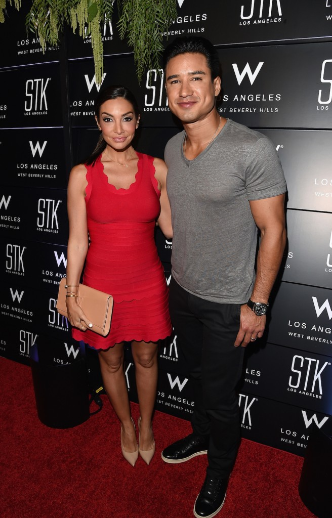 Actor Courtney Laine Mazza and Mario Lopez attend the STK Los Angeles reveal event at the W Los Angeles - West Beverly Hills on June 25, 2015 in Los Angeles, California