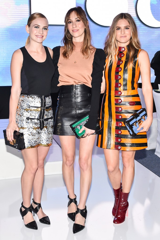 (l-r) Britt Robertson, Gia Coppola, Nathalie Love, (all wearing Louis Vuitton) at MOCA Gala 2015 Presented by Louis Vuitton