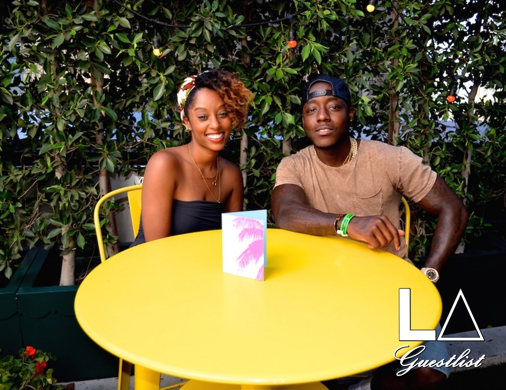 Ace Hood and Guest at The Spotify Pre-ESPY's VIP Lounge at The Standard in Downtown Los Angeles on July 13th