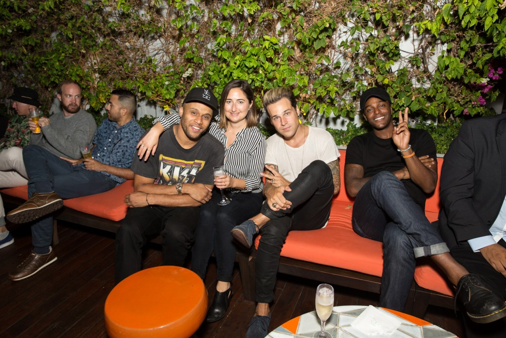 DeForrest Taylor, Kelsey Graber, Ryan Cabrera and Austin Brown attend the Gia Coppola X Peroni Grazie Cinema Series Cocktail Reception at Skybar at the Mondrian on July 28, 2015