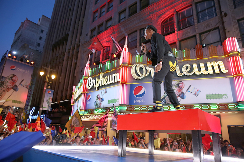 Recording artist Pharrell Williams performs on the Pepsi Stage, during the 2015 MTV Video Music Awards, at The Orpheum Theatre on August 30, 2015 in Los Angeles, California