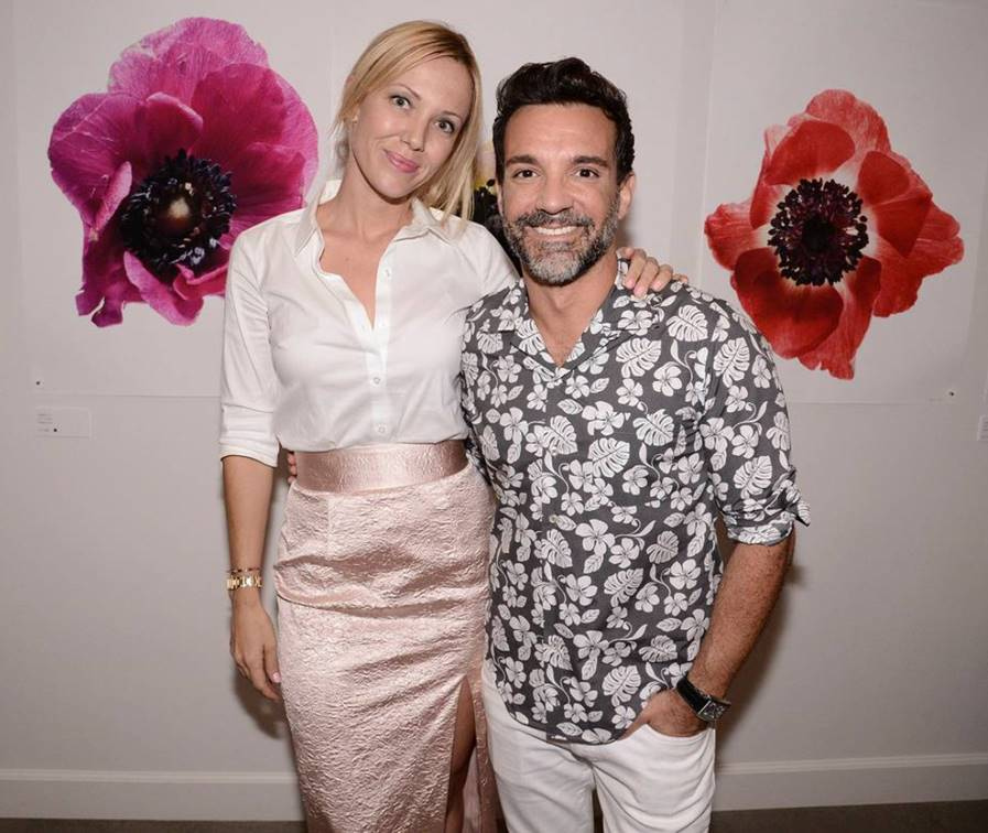 Tara Swennen and George Kotsiopoulos at the Vestiaire Collective West Coast Launch at Erick Buterbaugh's flower shop in West Hollywood, California on July 29th, 2015