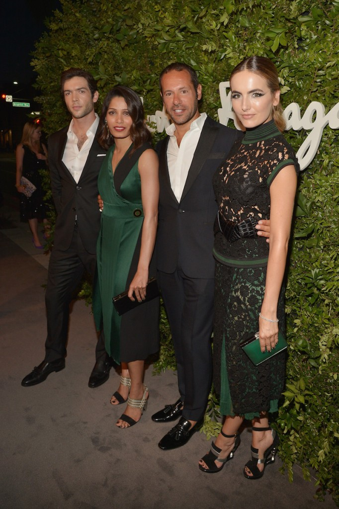 (L-R) Actors Ethan Peck and Freida Pinto, creative director for Salvatore Ferragamo Massimiliano Giornetti and actress Camilla Belle attend as Ferragamo Celebrates 100 Years in Hollywood at the newly unveiled Ferragamo boutique on September 9, 2015 in Beverly Hills, California