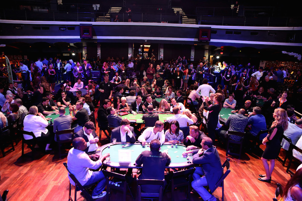 A generavl view of the poker room at the Get Lucky for Lupus LA celebrity poker tournament and party at Avalon on September 16, 2015 in Hollywood California