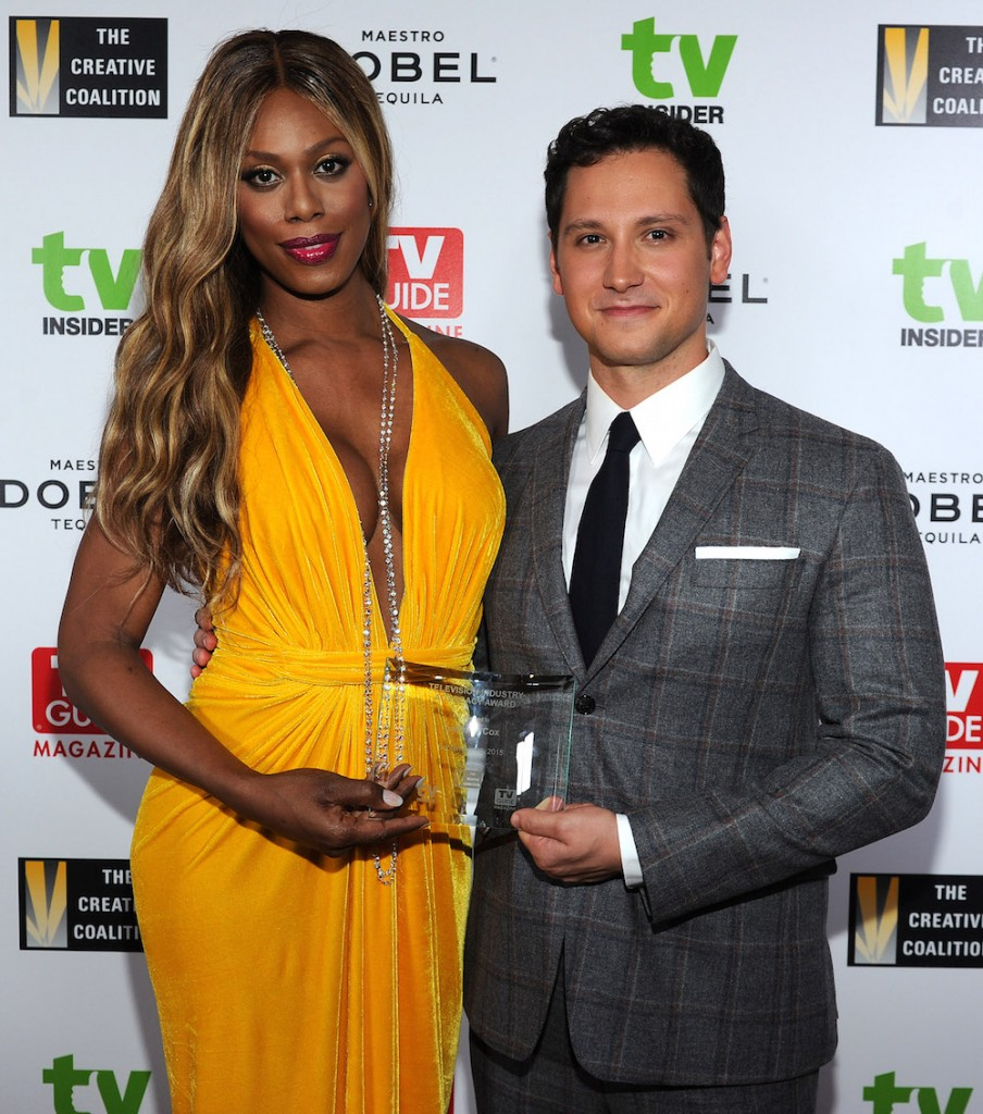 Matt McGorry presents Laverne Cox of Orange is the New Black with the 2015 Television Industry Advocacy Award benefitting The Creative Coalition in partnership with TV Guide Magazine at the Sunset Tower Hotel on September 18, 2015 in West Hollywood, California