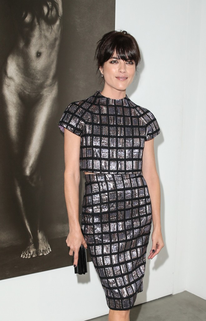 Actress Selma Blair arrives wearing Christian Siriano at