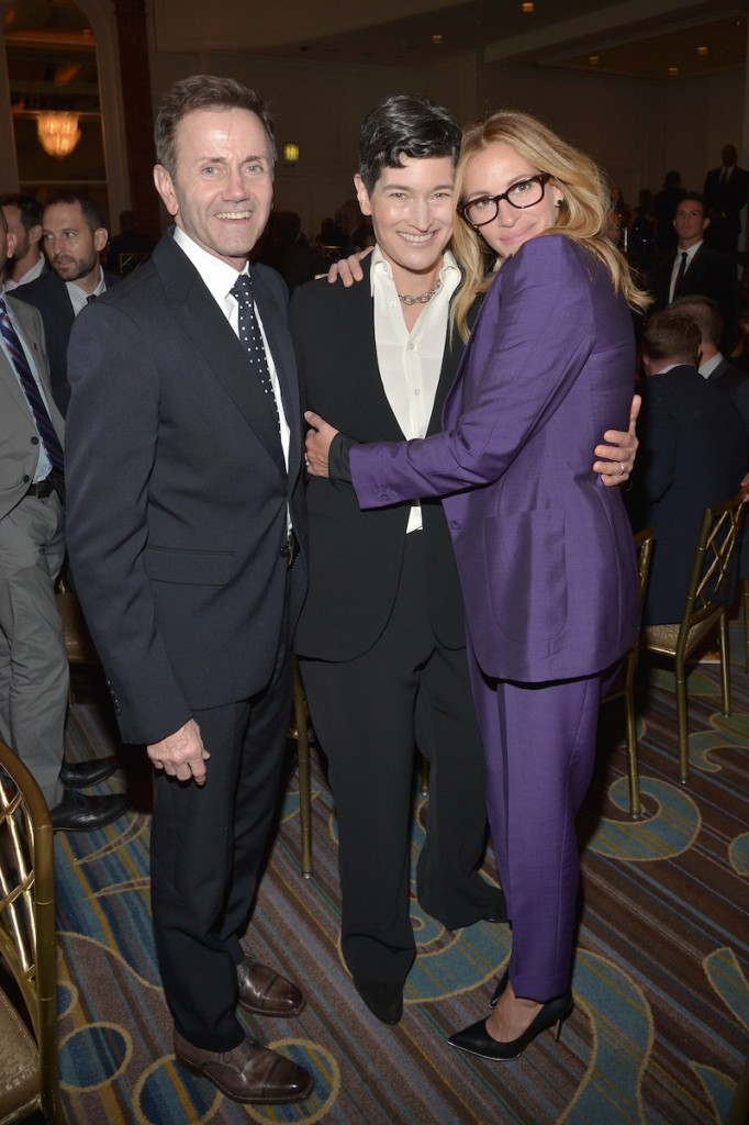 (L-R) EVP Communications for NBC Entertainment Chip Sullivan, GLSEN Executive Director Dr. Eliza Byard, and actress Julia Roberts attend the 2015 GLSEN Respect Awards at the Beverly Wilshire Four Seasons Hotel on October 23, 2015 in Beverly Hills, California