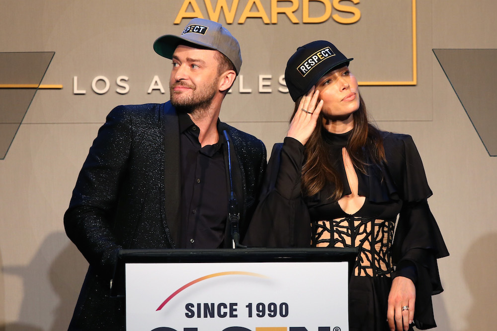 Honorees Justin Timberlake (L) and Jessica Biel accept the Inspiration Award onstage during the 2015 GLSEN Respect Awards at the Beverly Wilshire Four Seasons Hotel on October 23, 2015 in Beverly Hills, California