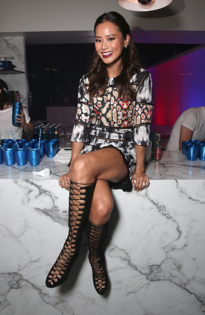 Actress Jamie Chung attends Absolut Electrik House, an epic house party transformed by the energy of its guests in celebration of new limited edition Absolut Electrik bottle, on October 23, 2015 in Los Angeles, California