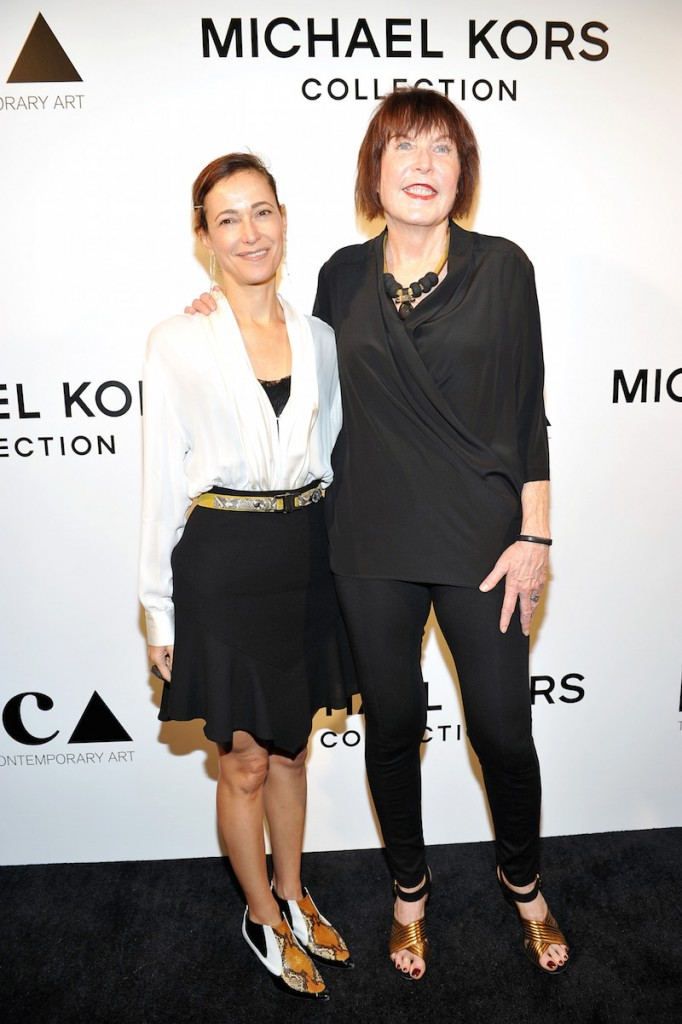 Jeanne Greenberg-Rohatyn (L) and artist Marilyn Minter attend Michael Kors Presents The Museum Of Contemporary Art's Distinguished  Women In The Arts Luncheon at the Beverly Wilshire Four Seasons Hotel on October 28, 2015 in Beverly Hills, California
