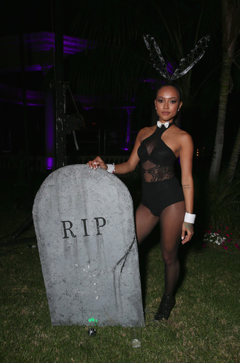 Karrueche Tran attends attends MAXIM Magazine's Official Halloween Party produced by Karma International on Saturday October 24th in Los Angeles