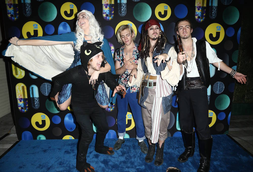 R5 band attends the 2015 Just Jared Halloween Party at No Vacancy on Saturday, Oct. 31, 2015, in Hollywood, Calif.
