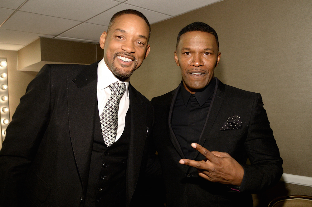 Actors Will Smith and Jamie Foxx attend the 19th Annual Hollywood Film Awards at The Beverly Hilton Hotel on November 1, 2015 in Beverly Hills, California
