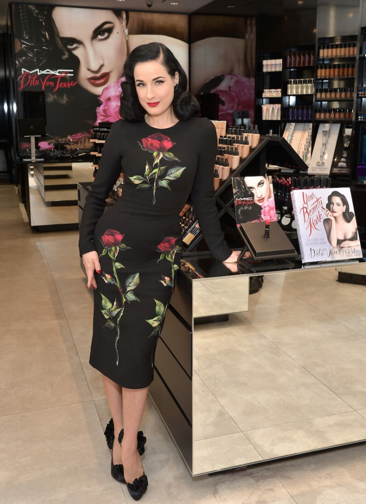 Dita Von Teese attends the MAC Comestics Dita Von Teese Collection Launch Event on December 11, 2015 at MAC North Beverly in Beverly Hills, California