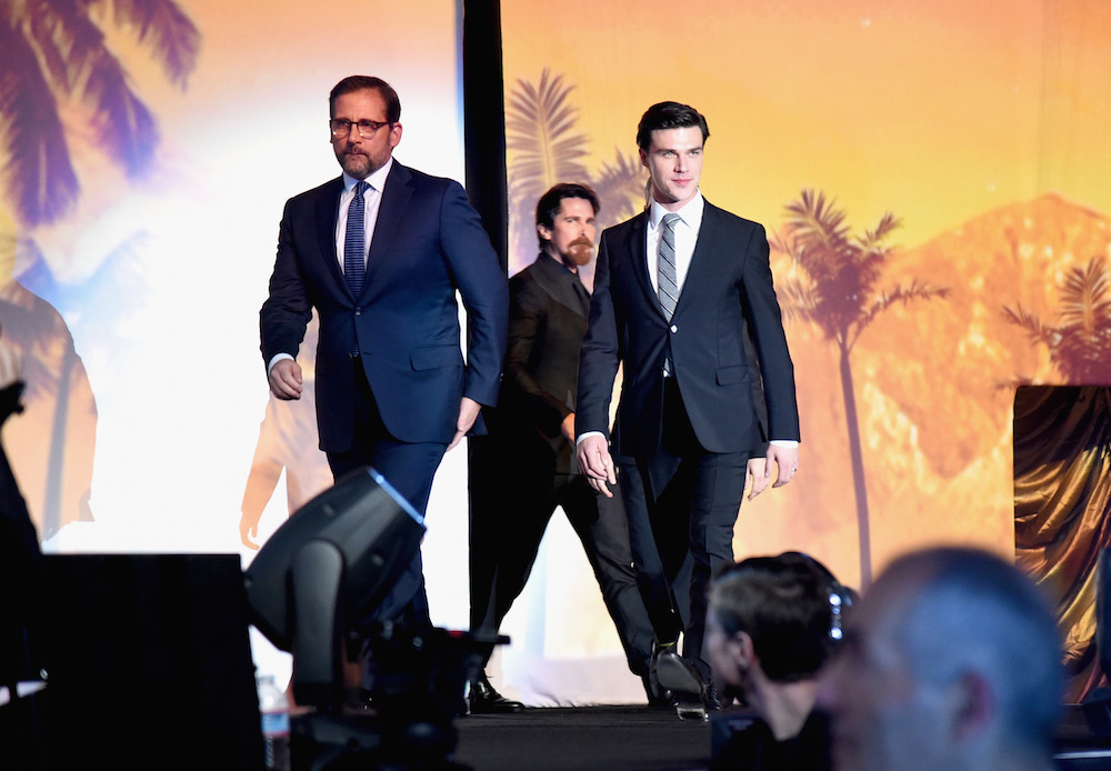 Actors Steve Carell, Finn Wittrock, Jeremy Strong and Christian Bale accept the Ensemble Performance Award for