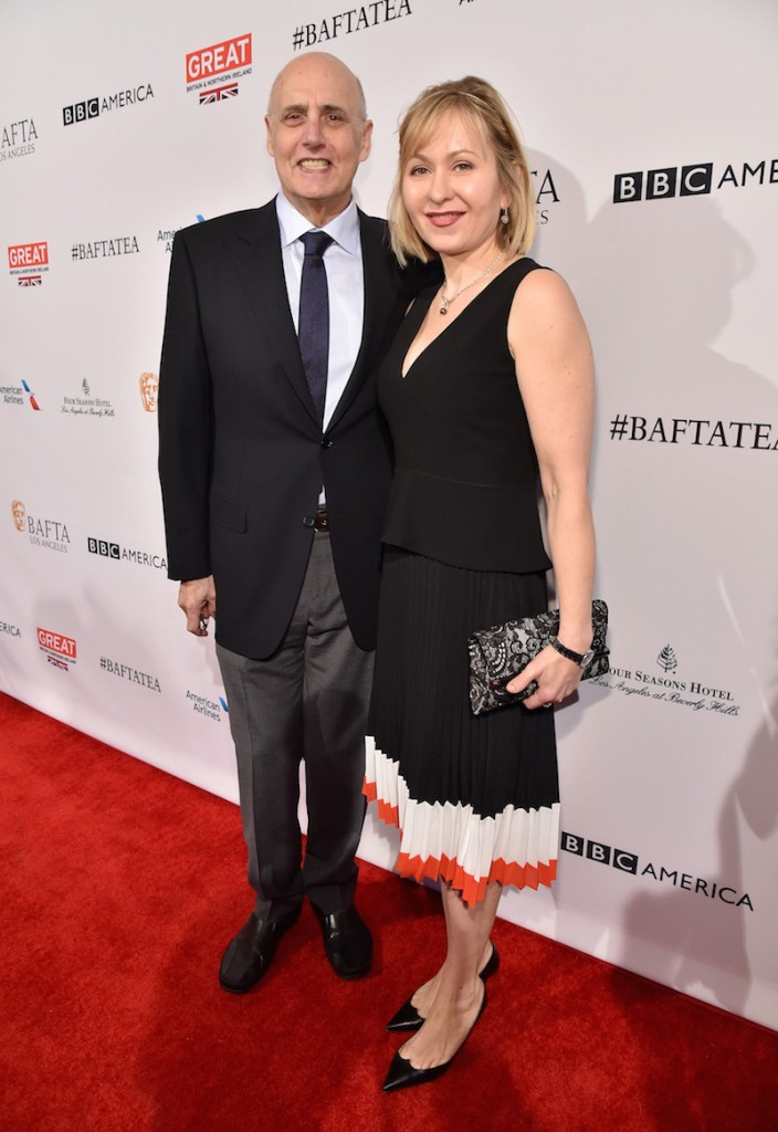 Actors Jeffrey Tambor (L) and Kasia Ostlun attend the BAFTA Los Angeles Awards Season Tea at Four Seasons Hotel Los Angeles at Beverly Hills on January 9, 2016 in Los Angeles, California