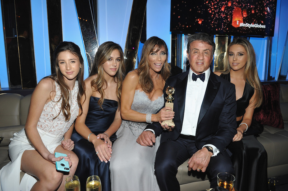 (L-R) Sophia Stallone, Sistine Stallone, Jennifer Flavin, Sylvester Stallone and Scarlet Stallone attend The 2016 InStyle and Warner Bros. 73rd annual Golden Globe Awards Post-Party at The Beverly Hilton Hotel on January 10, 2016 in Beverly Hills, California