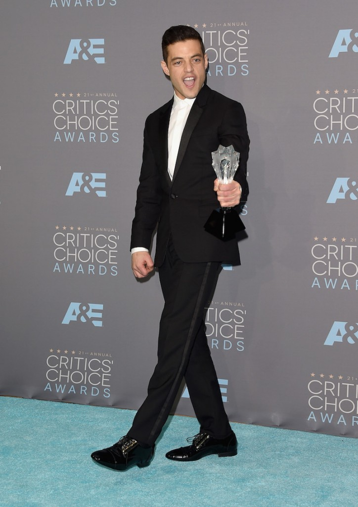 ctor Rami Malek, winner of Best Actor in a Drama Series for 'Mr. Robot', poses in the press room during the 21st Annual Critics' Choice Awards at Barker Hangar on January 17, 2016 in Santa Monica, California