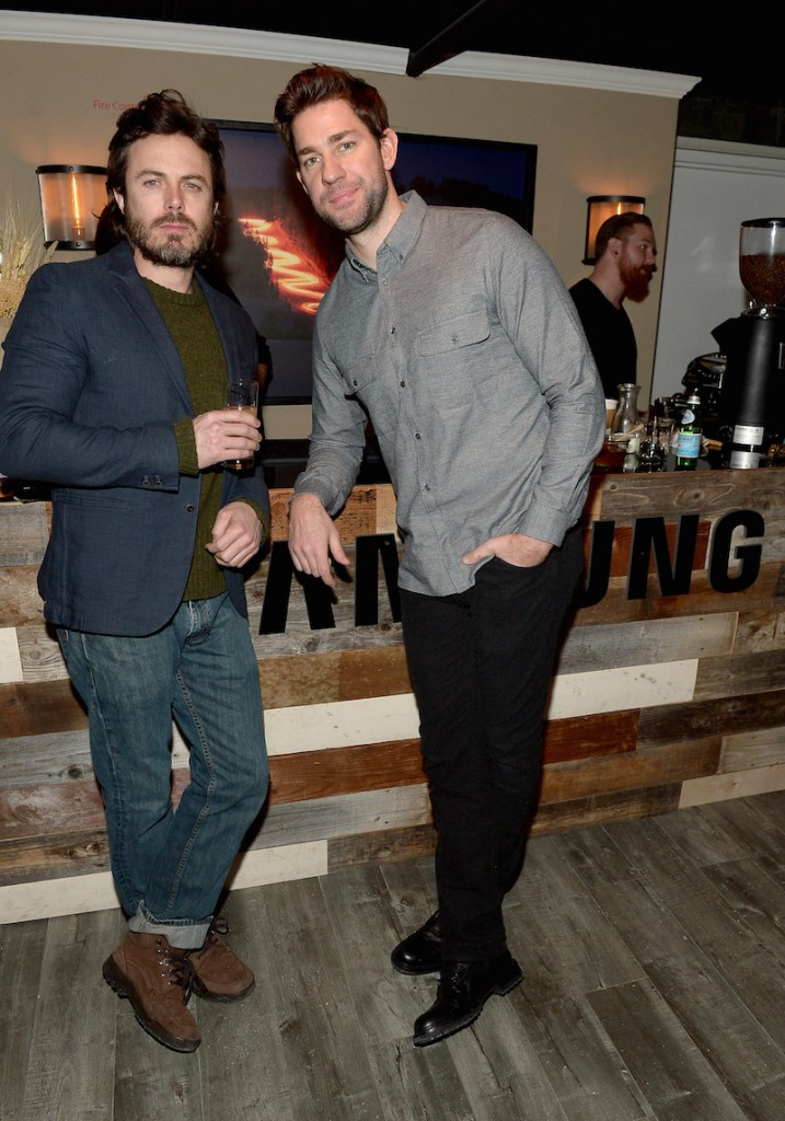 Actors Casey Affleck (L) and John Krasinski attend The Samsung Studio At Sundance Festival 2016 on January 23, 2016 in Park City, Utah