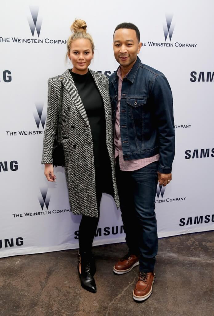 Model Chrissy Teigen (L) and musician John Legend attend Samsung Studio and Harvey Weinstein Host Annual Weinstein Sundance Bowl Football Party During The Sundance Film Festival 2016 on January 24, 2016 in Park City, Utah
