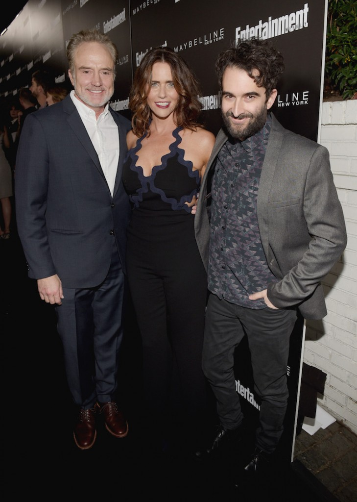 (L-R) Actors Bradley Whitford, Amy Landecker, and Jay Duplass attend Entertainment Weekly Celebration Honoring The Screen Actors Guild Awards Nominees presented by Maybelline at Chateau Marmont In Los Angeles on January 29, 2016 in Los Angeles, California