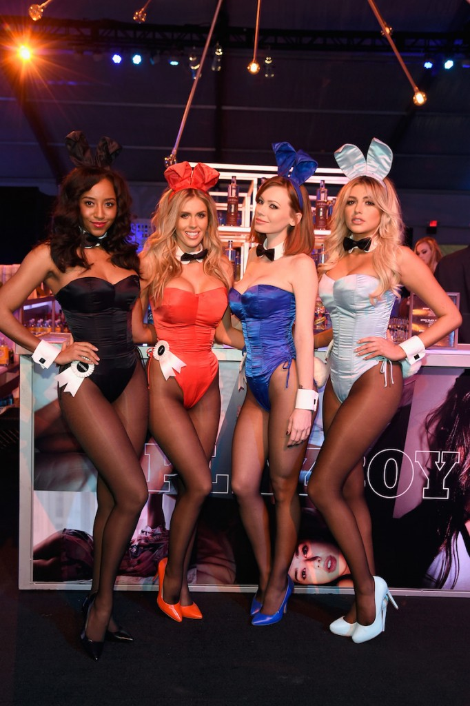 Playmates Neferteri Shepherd, Kayla Rae Reid, Kimberly Phillips and Monica Sims attend The Playboy Party during Super Bowl Weekend, which celebrated the future of Playboy and its newly redesigned magazine in a transformed space within Lot A of ATnT Park on February 5, 2016 in San Francisco, California