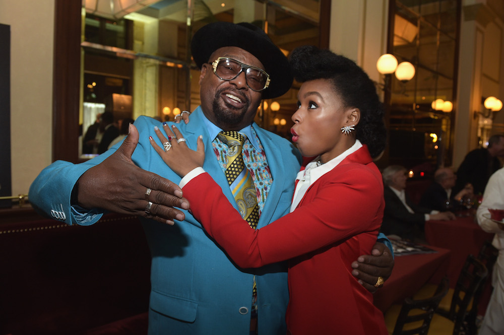 Recording artists George Clinton (L) and Janelle Monáe attend 2016 Billboard Power 100 Celebration at Bouchon Beverly Hills on February 12, 2016 in Beverly Hills, California