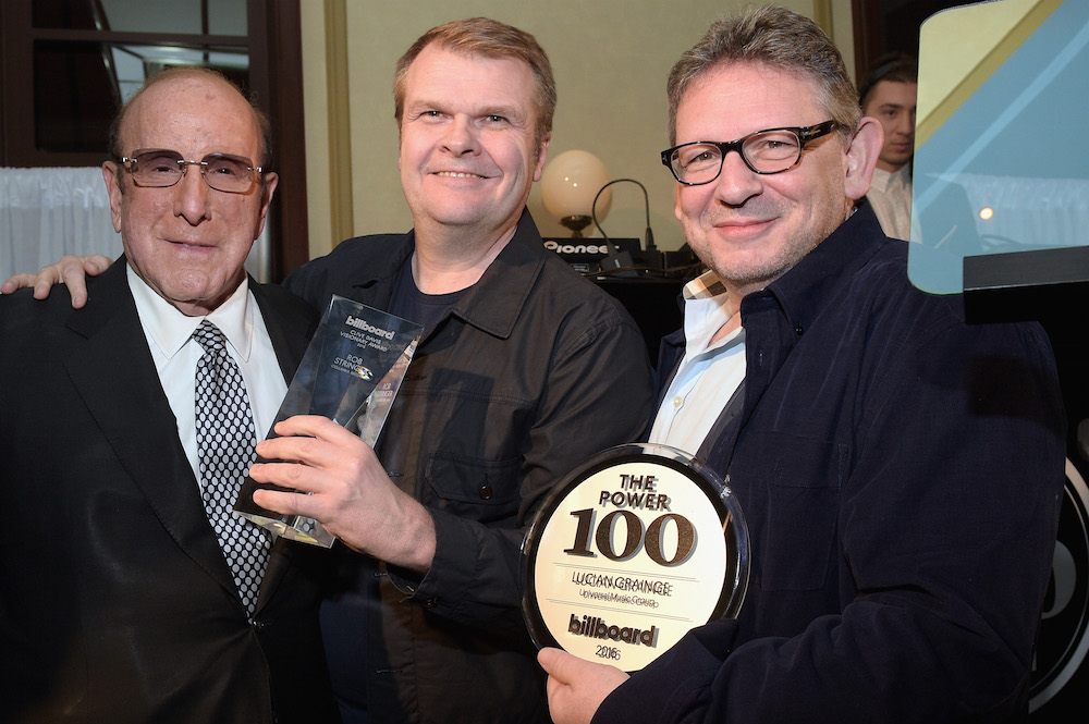 (L-R) Clive Davis and honorees Rob Stringer and Lucian Grainge attend the 2016 Billboard Power 100 Celebration at Bouchon Beverly Hills on February 12, 2016 in Beverly Hills, California