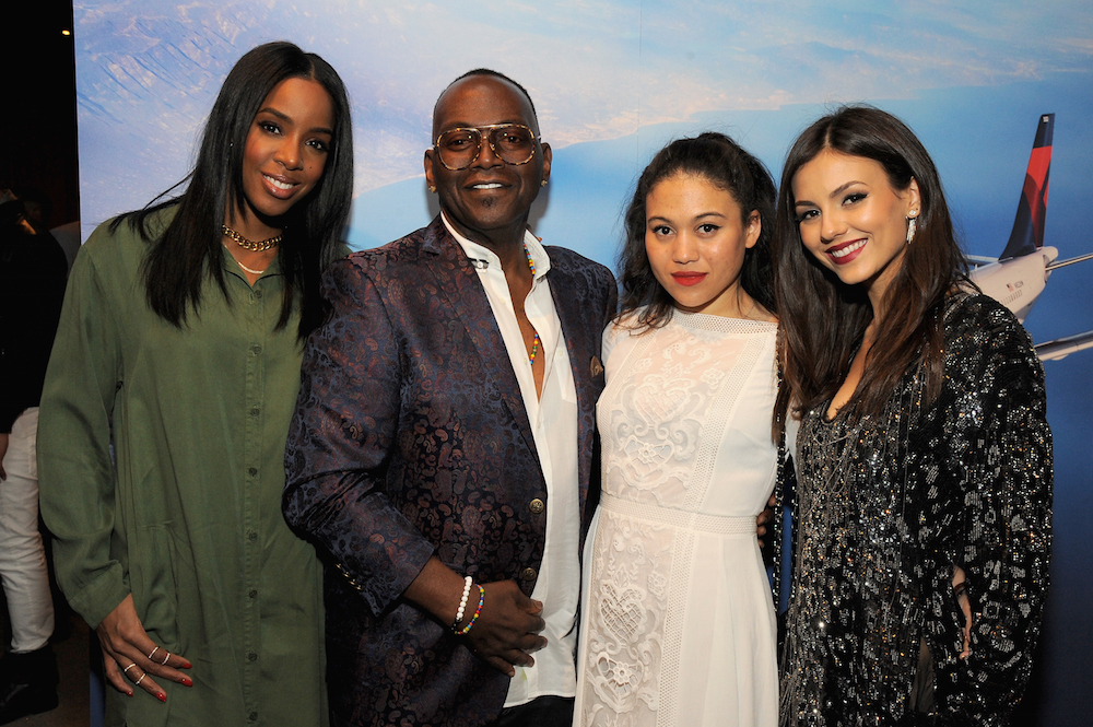 (L-R) Singer Kelly Rowland, musician Randy Jackson, Stevanna Jackson, and actress Victoria Justice attend Delta Air Lines
