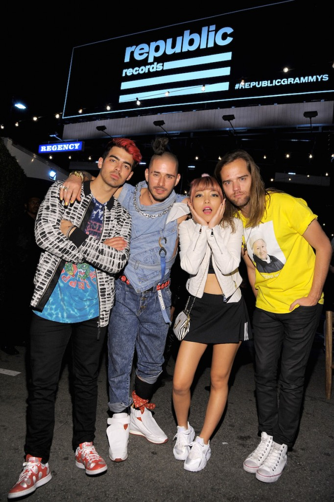 (L-R) Members of the musical group DNCE Joe Jonas, Cole Whittle, JinJoo Lee and Jack Lawless attend the Republic Records Grammy Celebration presented by Chromecast Audio at Hyde Sunset Kitchen & Cocktail on February 15, 2016 in Los Angeles, California