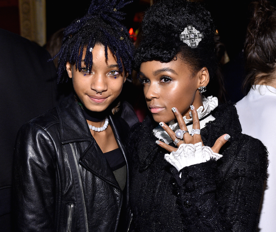 Singer Willow Smith and singer Janelle Monae attend the I Love Coco Backstage Beauty Lounge at Chateau Marmont's Bar Marmont on February 25, 2016 in Hollywood, California