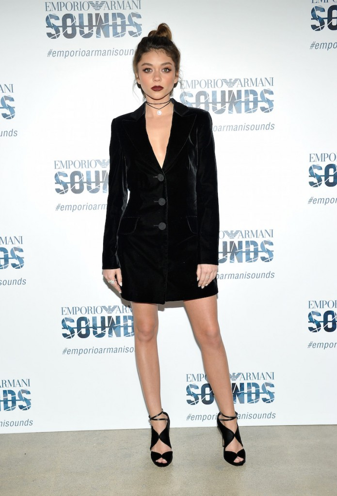 Actress Sarah Hyland, wearing Emporio Armani, attends Emporio Armani Sounds Los Angeles at NeueHouse Los Angeles on February 11, 2016 in Hollywood, California