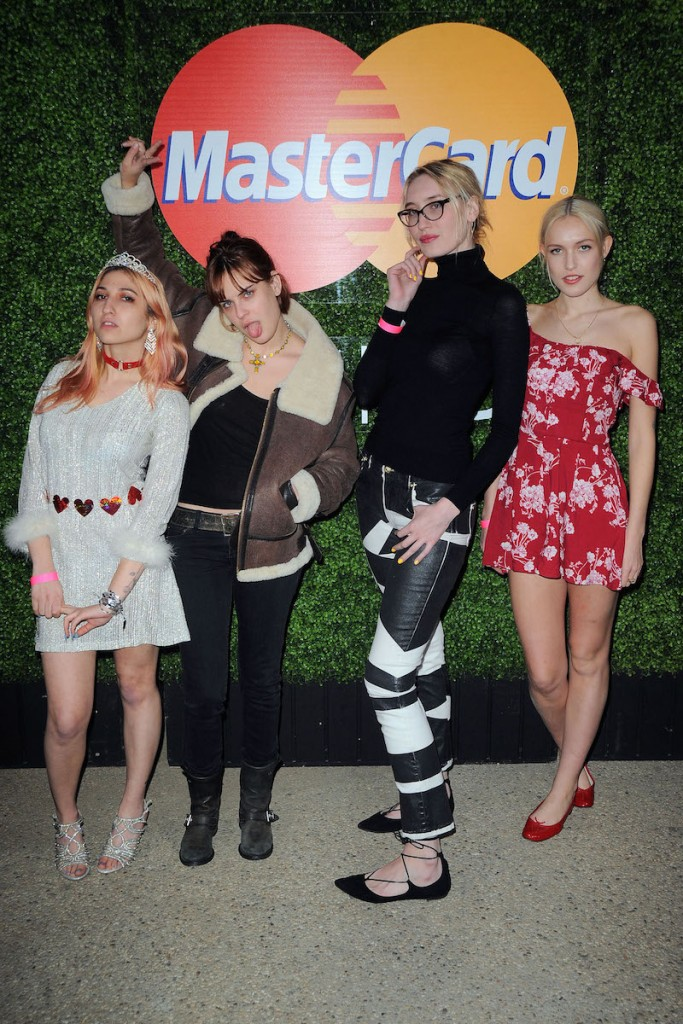 Niki Takesh, Tallulah Willis, Dinah Rankin, and Carlotta Kohl at Jamie xx & Mark Ronson's Valentine Special on February 14, 2016 at Club James at The Goldstein Residence