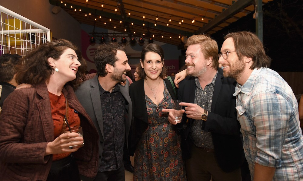 (L-R) Actors Gaby Hoffman, Jay Duplass, Melanie Lynskey, Linas Phillips and Timm Sharp attend a dinner hosted by Entertainment Weekly celebrating Mr. Robot at the Spotify House in Austin, TX during SXSW on March 12, 2016 in Austin, Texas