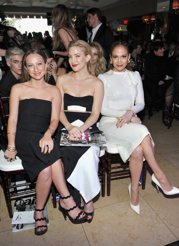 Honoree/jewelry designer Jennifer Meyer, actress Kate Hudson and actress/singer Jennifer Lopez attend The Daily Front Row