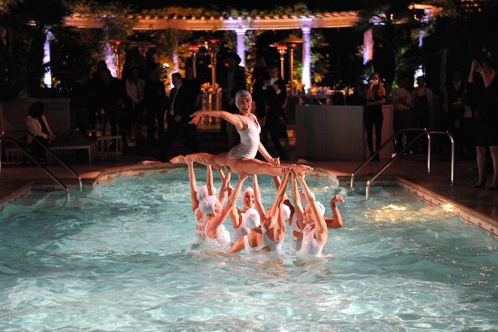 Aqualillies synchronized swimmers performs as Neiman Marcus celebrates the exclusive #OnlyatNM KENDALL + KYLIE Collection at Neiman Marcus on March 31, 2016 in Beverly Hills, California
