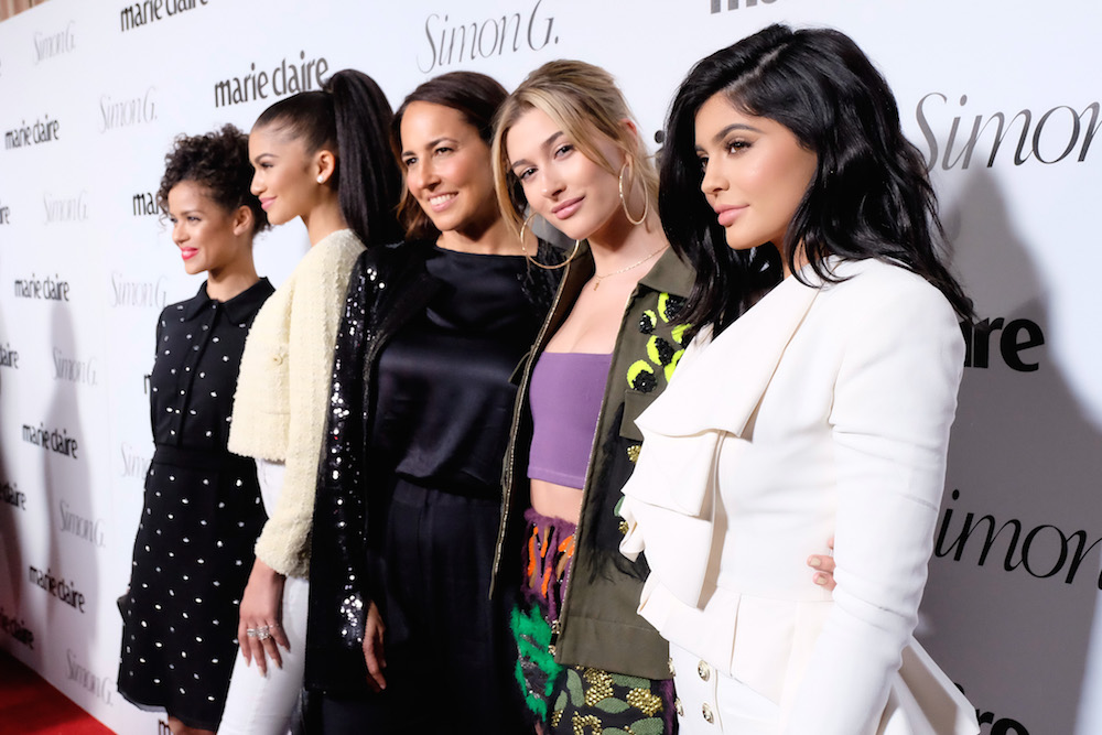 (L-R) Actors Gugu Mbatha-Raw, Zendaya, Editor-in-Chief, Marie Claire Anne Fulenwider, model Hailey Baldwin and tv personality Kylie Jenner attend the