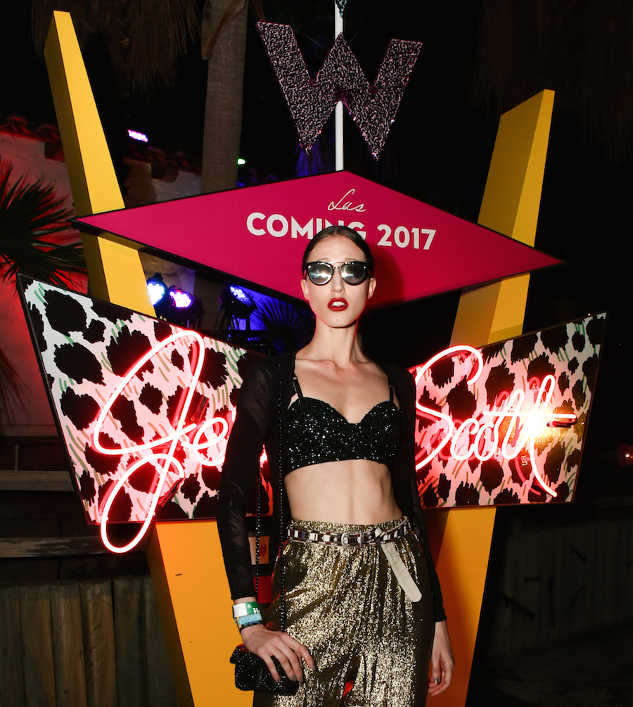 Anna Cleveland at Jeremy Scott x Coachella party on Saturday April 16 during the 2016 Coachella Music Festival