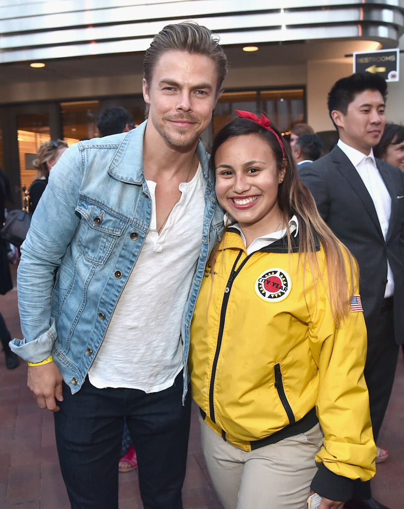 Dancer/actor Derek Hough (L) and City Year AmeriCorps member attend City Year Los Angeles Spring Break Event at Sony Studios on May 7, 2016 in Los Angeles, California