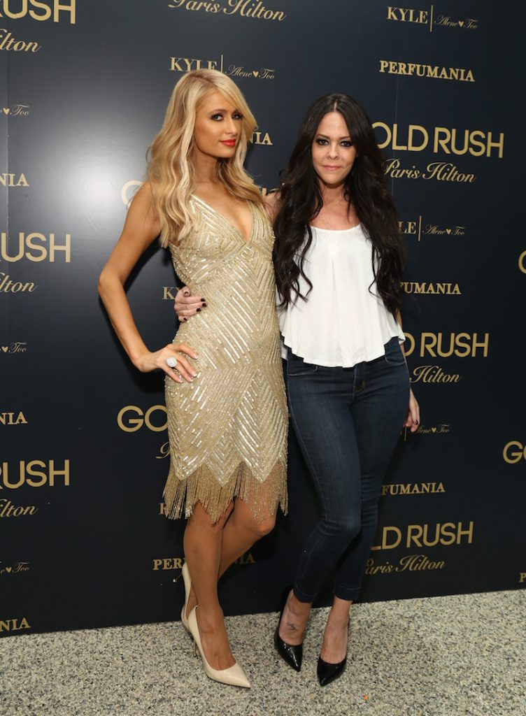 Paris Hilton and friend Alison Melnick at the launch of her newest fragrance 'Gold Rush' in Los Angeles, California on June 28th.