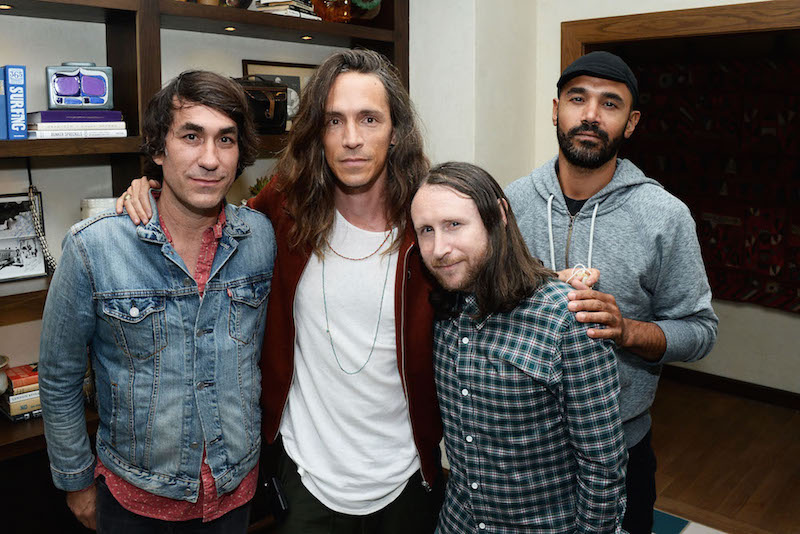 (L-R) Co-owner of The Bungalow Huntington Beach Brent Bolthouse, singer Brandon Boyd, guitarist Mike Einziger, and bassist Ben Kenney of the band Incubus attend the Grand Opening of The Bungalow Huntington Beach at The Bungalow Huntington Beach on July 7, 2016 in Huntington Beach, California