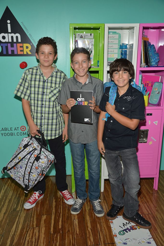 (L-R) Jadon Sand, Cole Sand and Carter Sand celebrate Yoobi x i am OTHER Presented by Pharrell Williams, a limited-edition collection that gives back to U.S. classrooms in need on August 11, 2016 in Los Angeles, California