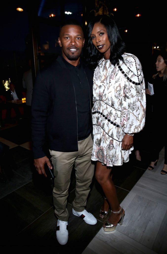Actors Jamie Foxx (L) and Tasha Smith attend the Audi Celebrates The 68th Emmys at Catch LA on September 15, 2016 in West Hollywood, California