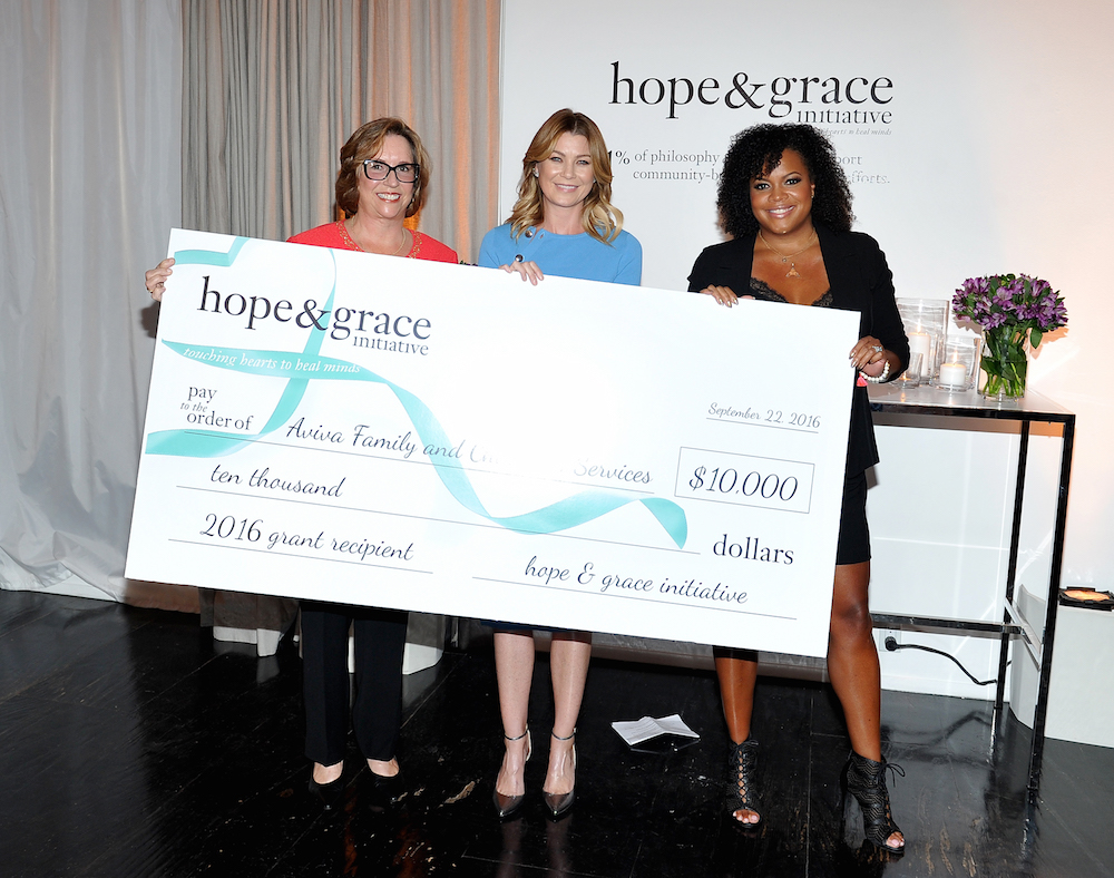 (L-R) Regina Bette, CEO and President of Aviva Family and Children's Services, actress Ellen Pompeo, and Tiffani Carter-Thompson, Vice President, Global PR, Social Media and Charity at Philosophy, attend The Age of Cool hosted by Philosophy and Ellen Pompeo at Quixote on September 22, 2016 in West Hollywood, California