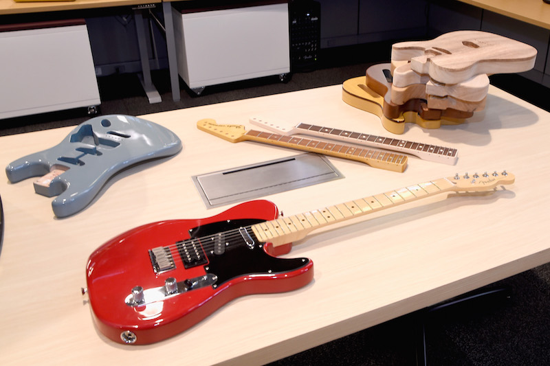 Fender guitars on display at the Fender Hollywood office Grand Opening with exclusive performances By Cold War Kids and Bleached on September 22, 2016 in Los Angeles, California