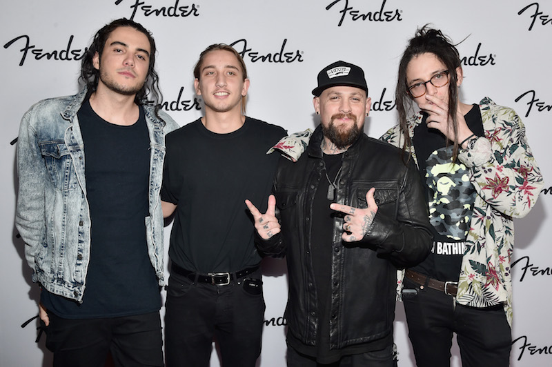 Musician Benji Madden (2nd R) of Good Charlotte and guests attend the Fender Hollywood office Grand Opening with exclusive performances By Cold War Kids and Bleached on September 22, 2016 in Los Angeles, California