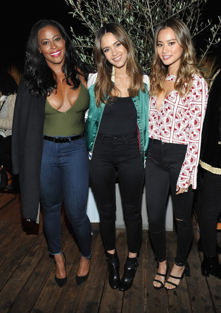 (L-R) Actresses Nichelle Hines, Jessica Alba and Jamie Chung attend the DL1961 x Jessica Alba Collection Event at the REVOLVE Social Club on October 14, 2016 in West Hollywood, California