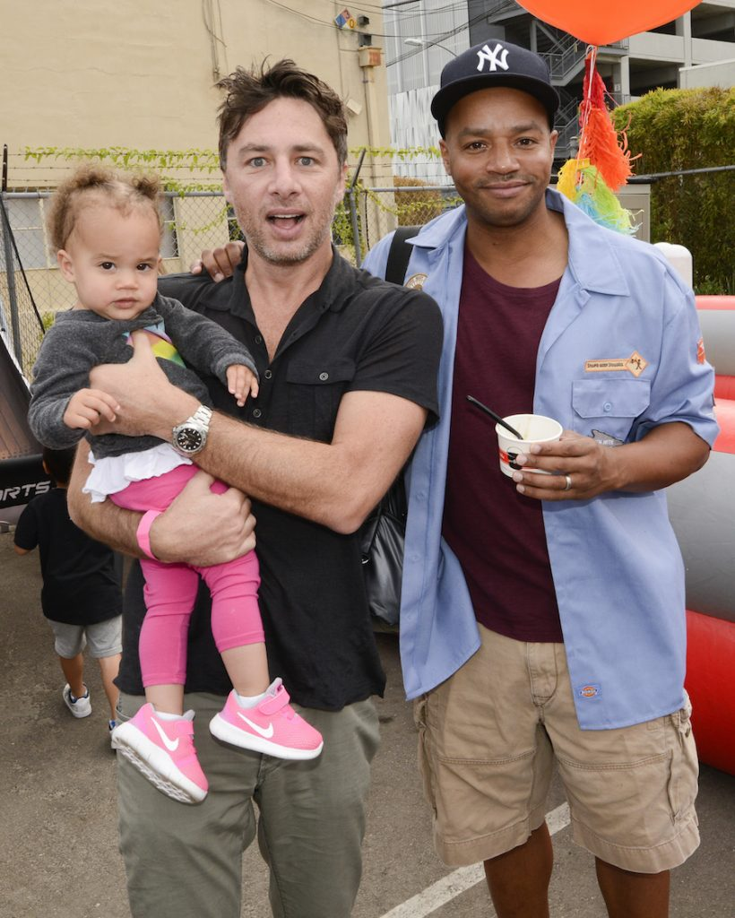 Actor Zach Braff (L) and actor Donald Faison attend Elizabeth Glaser Pediatric Aids Foundation