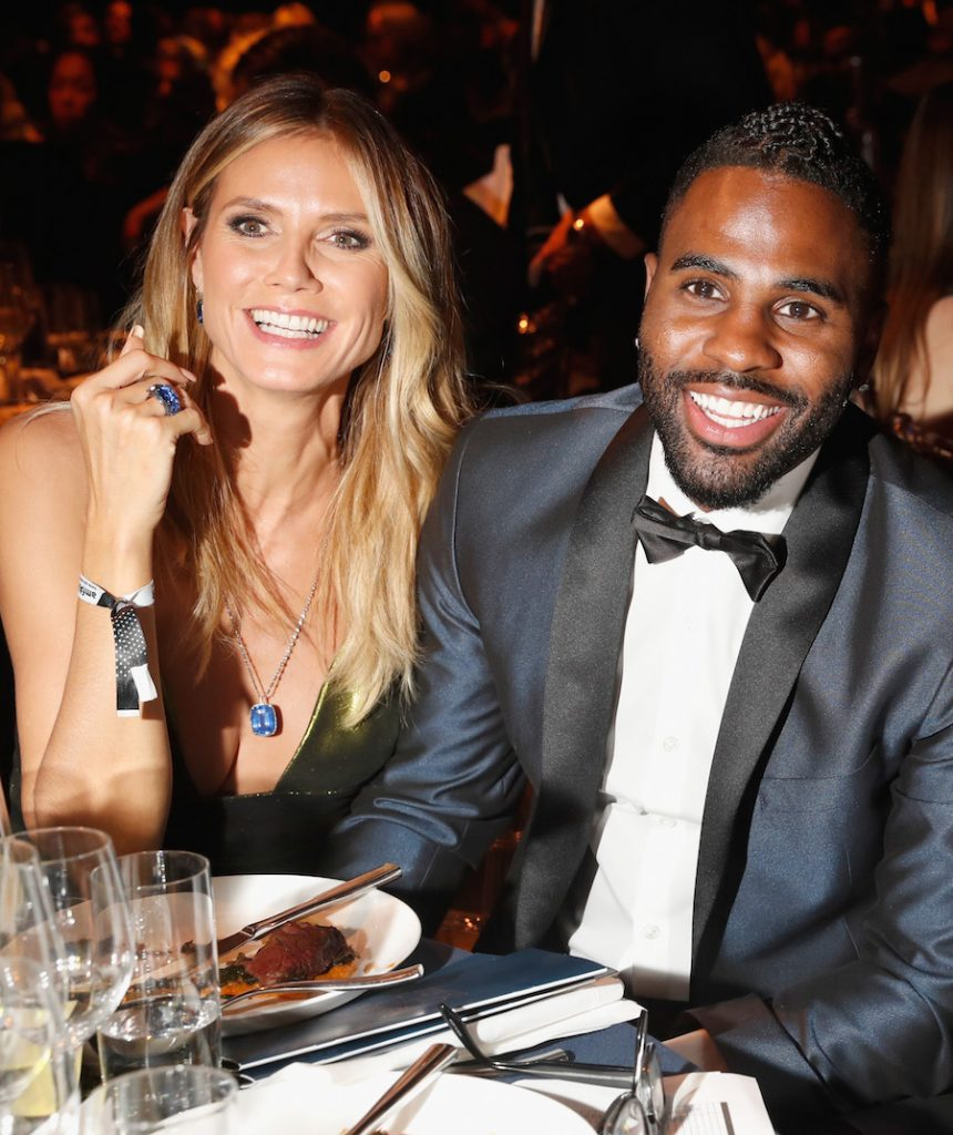 (L-R) Model Heidi Klum and singer Jason Derulo attend amfAR's Inspiration Gala at Milk Studios on October 27, 2016 in Hollywood, California